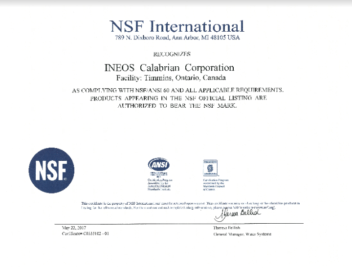 NSF Certification - Timmins, Ontario, Texas