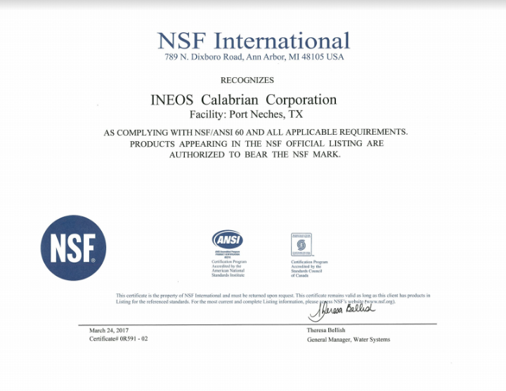 NSF Certification - Port Neches, Texas