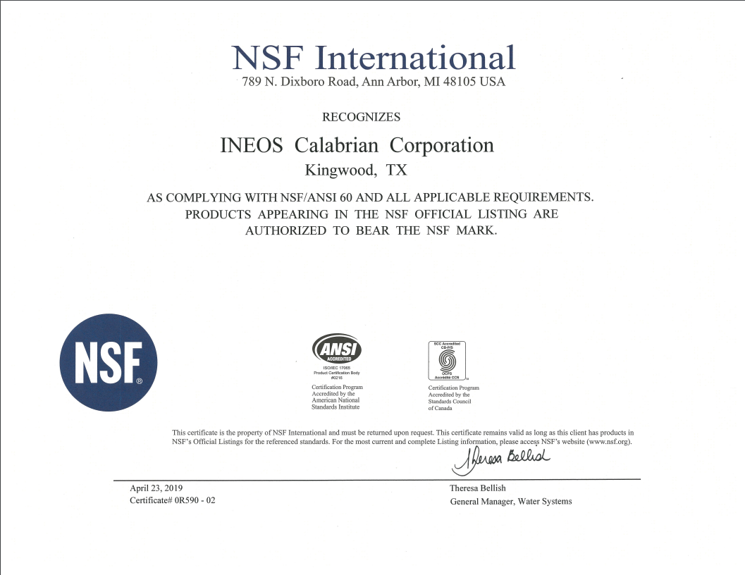 NSF Certificate Port Neches