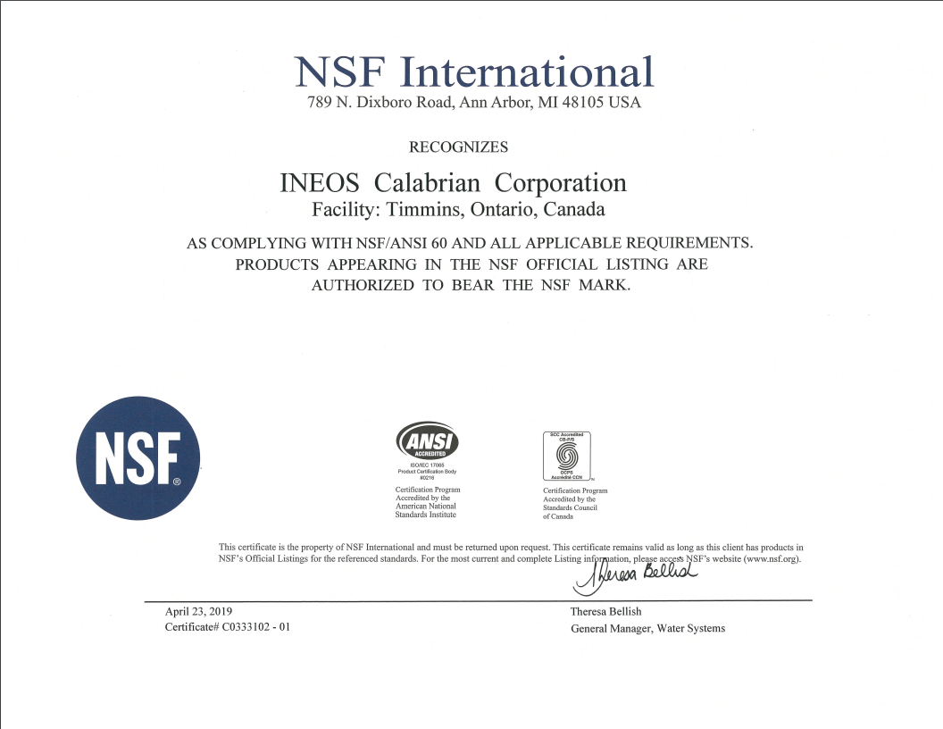 NSF Certificate Timmins