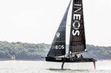 INEOS TEAM UK Team Principal and Skipper Ben Ainslie and Giles Scott sail T5 during a testing session on the Solent